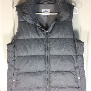 Old Navy Gray Qulited Puffer Vest Sz L